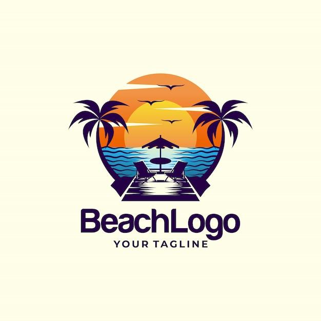 Beach logo design template vettoriale Vettore Premium