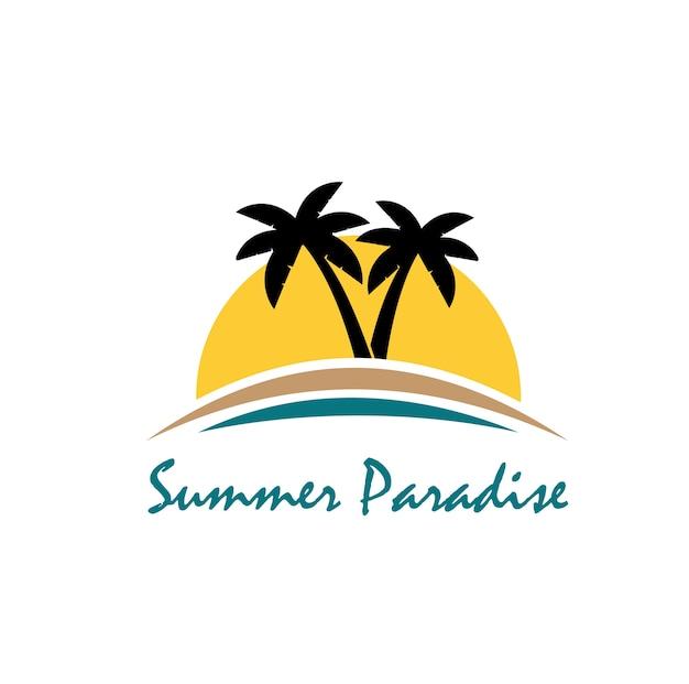 Logo di tema spiaggia ed estate con modello di disegno tre palme Vettore Premium