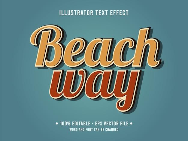 Modello di effetto testo modificabile modo spiaggia Vettore Premium