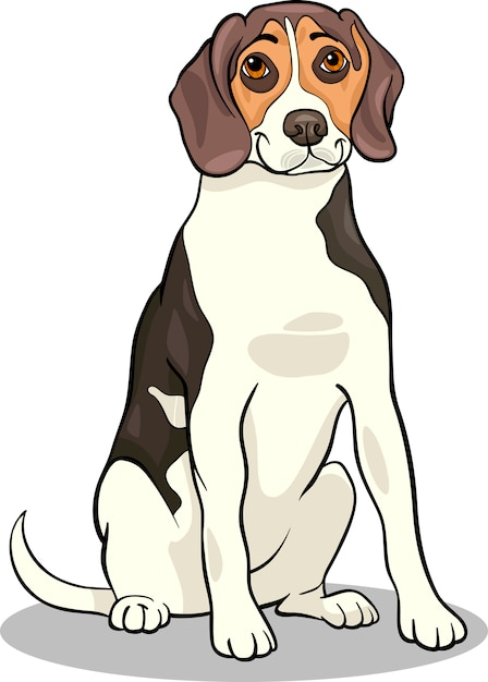 Illustrazione del fumetto del cane beagle Vettore Premium