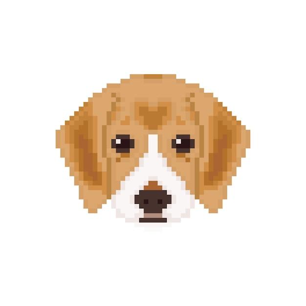 Testa di cucciolo di beagle in stile pixel art. Vettore Premium
