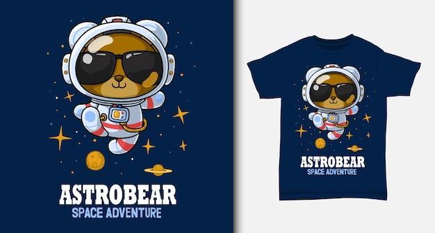 Orso cartone animato astronauta. con design t-shirt. Vettore Premium