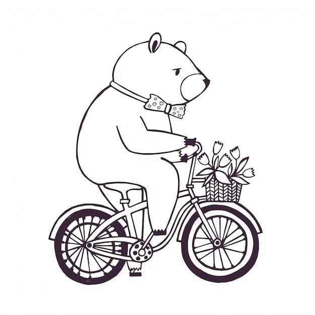 Orso sulla bicicletta con cesto e fiori. Vettore Premium