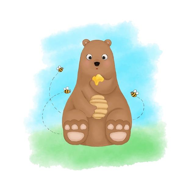 Orso che mangia miele circondato dal vettore dell'illustrazione dell'acquerello delle api. disegno sveglio del fumetto della scuola materna. Vettore Premium