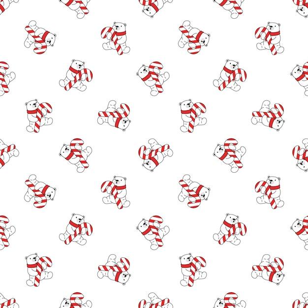 Orso polare natale seamless pattern babbo natale candy cane Vettore Premium