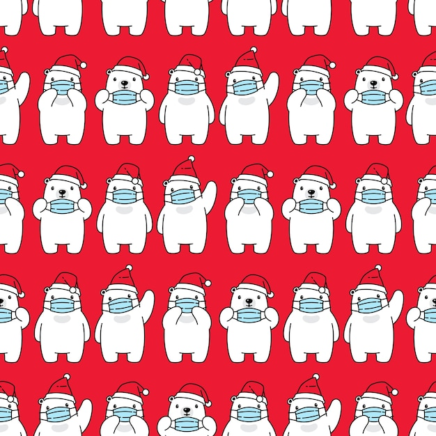 Orso polare seamless pattern natale babbo natale maschera per il viso covid19 Vettore Premium