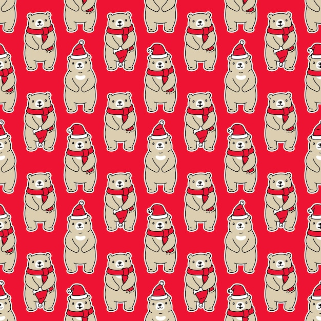 Orso polare seamless pattern natale babbo natale Vettore Premium