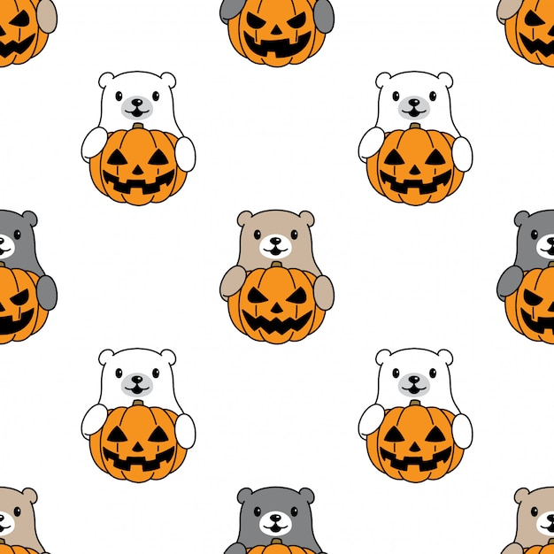 Orso polare seamless pattern halloween zucca cartoon Vettore Premium