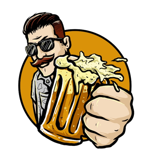 Uomo barbuto con un bicchiere di distintivo di vettore di birra di radice Vettore Premium