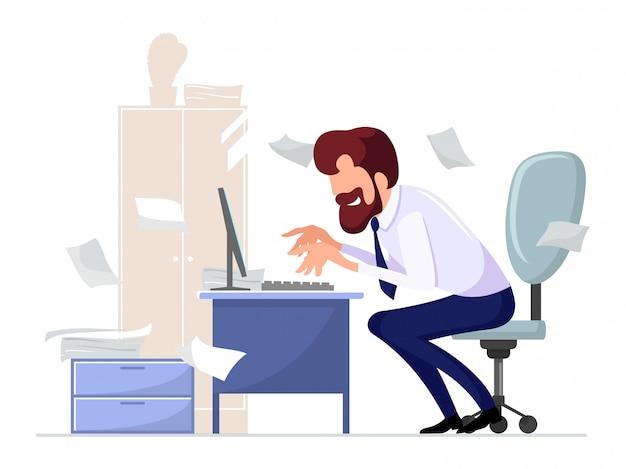 Impiegato barbuto, impiegato seduto su una sedia alla scrivania del computer, lavorando con entusiasmo a sfondo di armadio, pianta, carte sparse. uomo laborioso che digita. illustrazione del fumetto. Vettore Premium