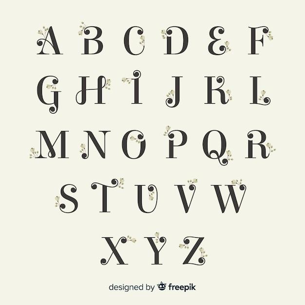 Bellissimo alfabeto con fiori Vettore Premium