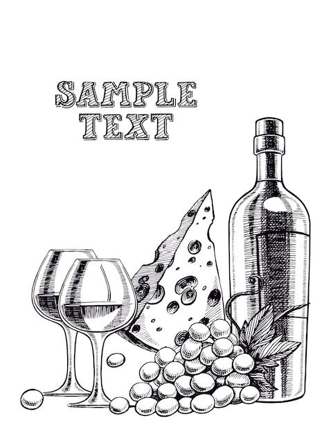 Bellissimo sfondo con una bottiglia di vino, bicchieri, grappolo d'uva e formaggio Vettore Premium
