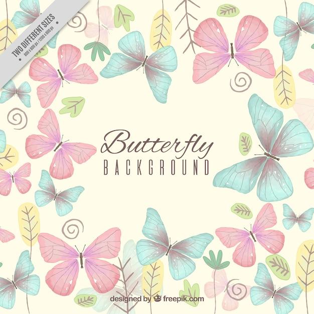 Bellissimo sfondo con le farfalle e piante Vettore Premium