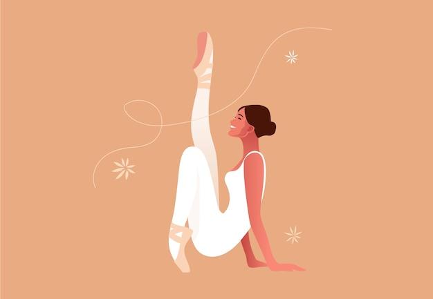 Bella illustrazione piatta ballerina. bellezza del balletto classico. scarpette da punta del ballerino di balletto della giovane donna graziosa, colori pastello. Vettore Premium