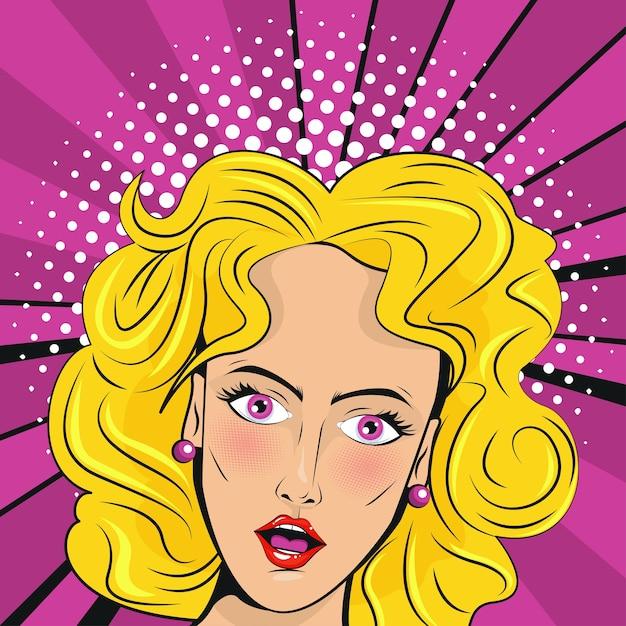 Poster in stile pop art bella donna bionda. Vettore Premium
