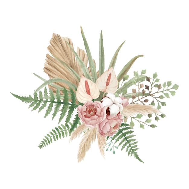 Bellissimo bouquet floreale bohémien con peonie Vettore Premium