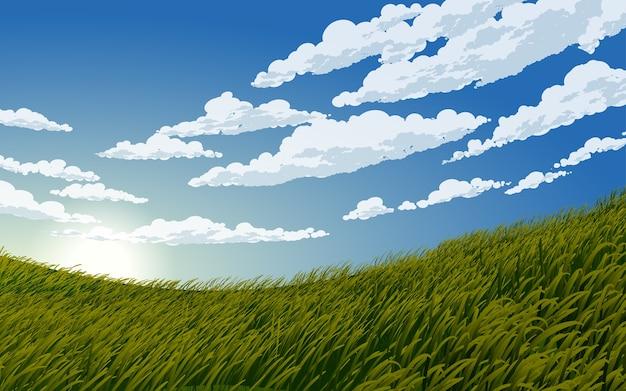 Bel cielo blu nuvoloso in prato Vettore Premium