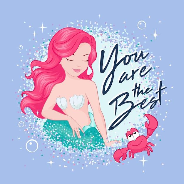Bellissima sirena di capelli corallo su una tendenza, sfondo lilla. Vettore Premium