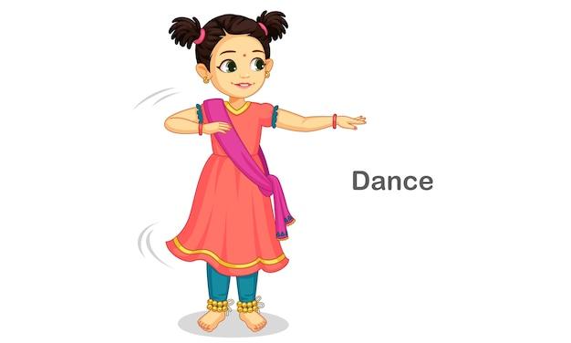 Bella ragazza carina che balla la danza classica indiana Vettore Premium