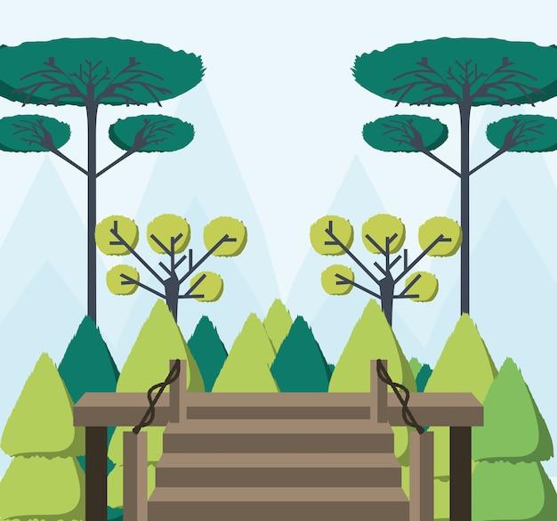 Bella foresta vista dalla casa in legno Vettore Premium