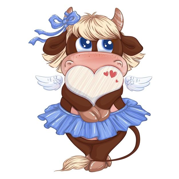 Una bella mucca ragazza con una gonna blu con un fiocco sulle corna tiene una cornice a forma di cuore per l'iscrizione. Vettore Premium