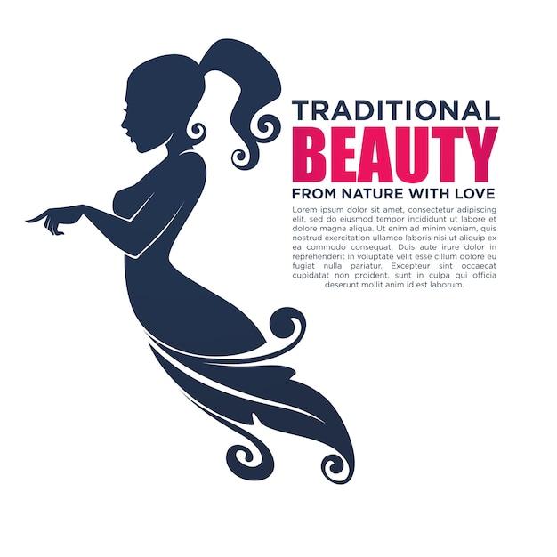 Bella ragazza in abito floreale, per il tuo logo, etichetta, emblema Vettore Premium