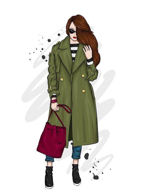 Bella ragazza in un elegante cappotto, pantaloni e occhiali. Vettore Premium