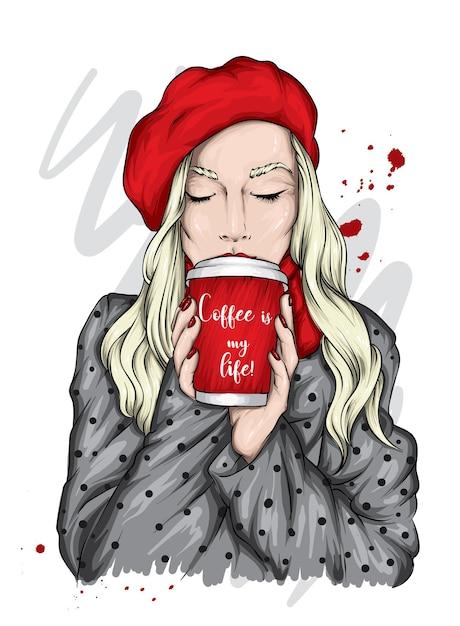 Bella ragazza con un bicchiere di caffè. Vettore Premium
