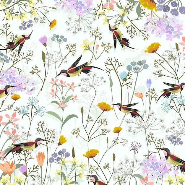 Bellissimo colibrì in dolce giardino fiorito. Vettore Premium