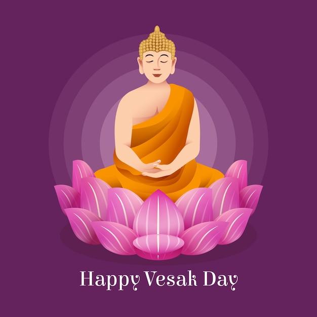 Bella illustrazione per evento vesak con fiore di loto e monaco Vettore Premium