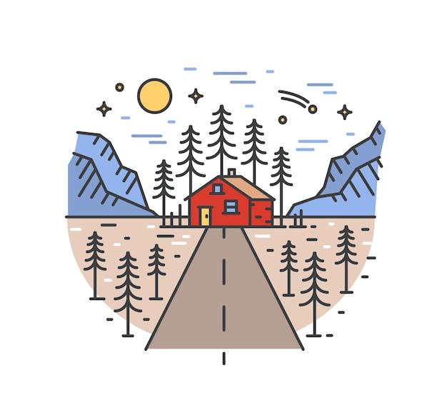 Bellissimo paesaggio con autostrada che porta a casa nella foresta circondata da alberi di abete rosso e montagne. Vettore Premium