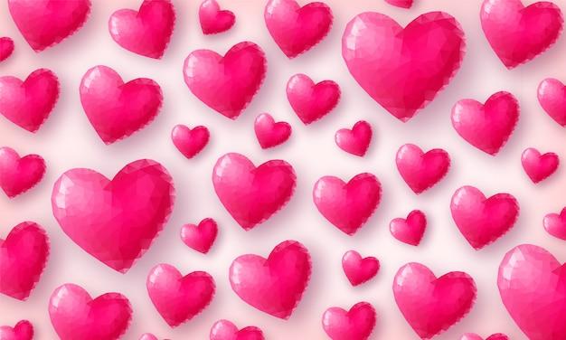 Bella carta da parati d'amore. cuori di cristallo rosa sulla vista dall'alto di sfondo rosa pastello. simbolo di san valentino a basso numero di poligoni. illustrazione Vettore Premium