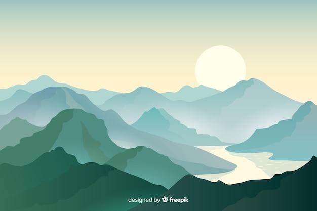 Bella catena montuosa e fiume in mezzo Vettore Premium