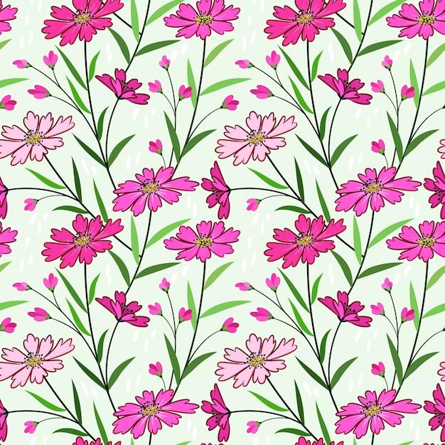 Modello senza cuciture di bei fiori di colore rosa. Vettore Premium