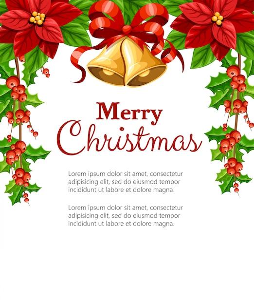 Bellissimo fiore rosso poinsettia e vischio con foglie verdi e due campanelli jingle con fiocco rosso decorazione natalizia illustrazione su sfondo bianco con posto per il vostro testo Vettore Premium