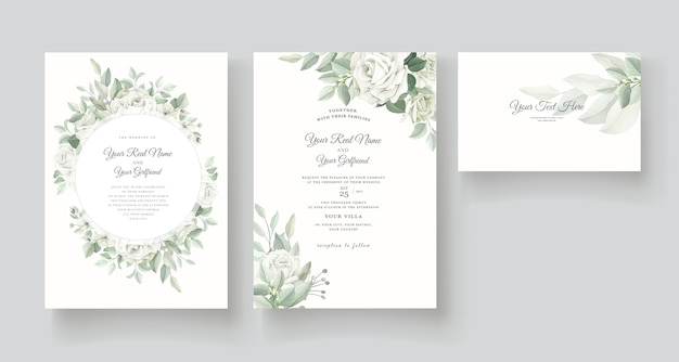 Modello di carta di invito bellissime rose Vettore Premium