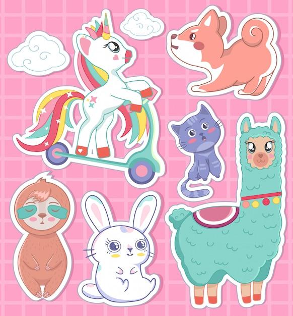 Sogno di lama del gatto del coniglietto di bradipo dell'unicorno di bello insieme con l'illustrazione del cielo, stampa per i distintivi Vettore Premium