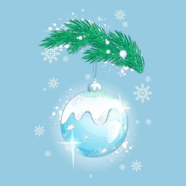 Bellissima decorazione palla di vetro scintillante per l'albero di natale. giocattolo dell'albero di natale con luci e fiocchi di neve Vettore Premium