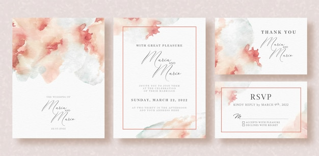 Acquerello di carta di nozze bella splash Vettore Premium