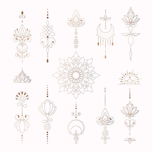 Bellissimi elementi tribali per il disegno del tatuaggio donna Vettore Premium
