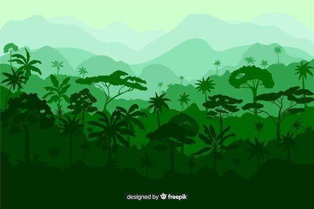 Bellissimo paesaggio foresta tropicale con varietà di alberi Vettore Premium