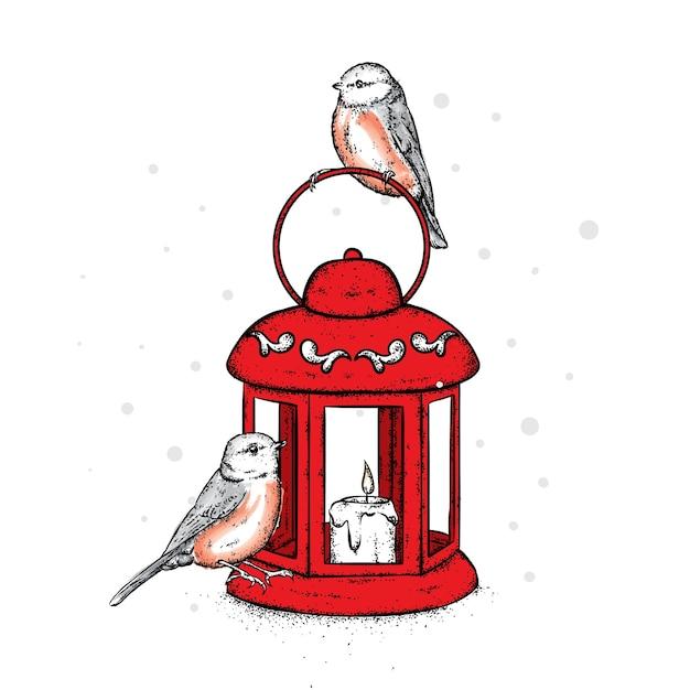 Bellissima lanterna vintage con candela e uccellini. ciuffolotti adorabili. Vettore Premium