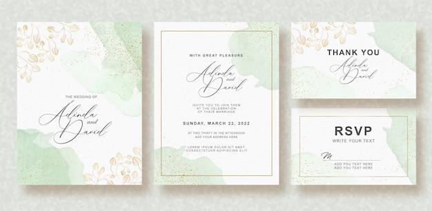 Bella carta di nozze con schizzi ad acquerello Vettore Premium