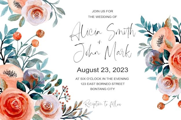 Carta di invito matrimonio bellissimo con acquerello floreale Vettore Premium