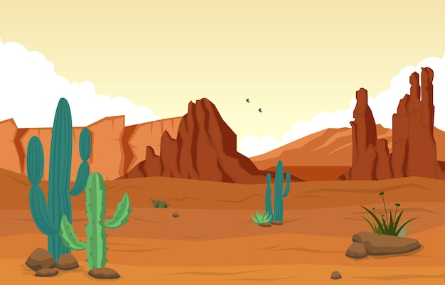 Bello paesaggio occidentale del deserto con la roccia cliff mountain illustration del cielo Vettore Premium