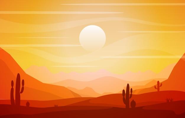 Bello paesaggio occidentale del deserto con la roccia cliff mountain illustration del cielo Vettore Premium