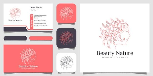 Il viso di bella donna combina la foglia con il logo in stile art line e il design del biglietto da visita. Vettore Premium