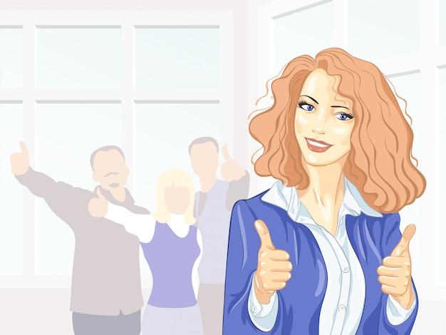 Bella giovane donna d'affari con i colleghi con i pollici in su in ufficio sorridendo Vettore Premium