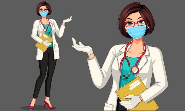 Bella giovane donna medico indossando la maschera illustrazione Vettore Premium