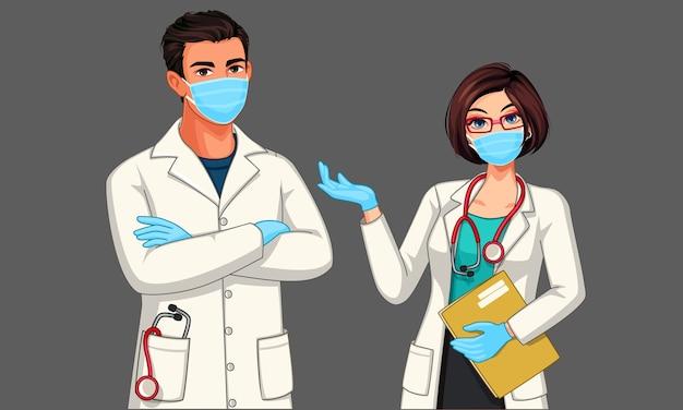 Bei giovani medici maschii e femminili che portano l'illustrazione dei guanti e della maschera Vettore Premium